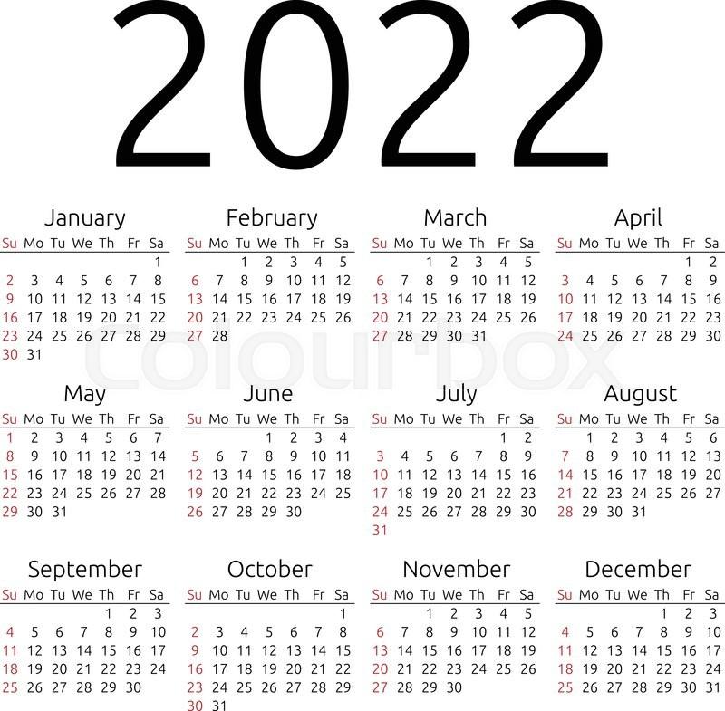 Calendar 2022 Year.Simple 2022 Year Calendar Week Starts Stock Vector Colourbox