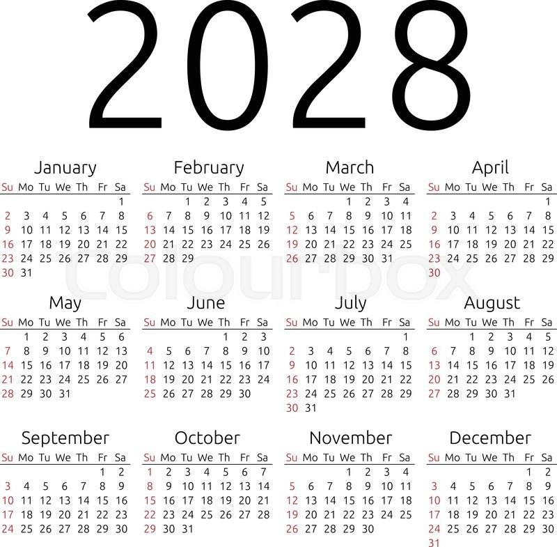 simple 2028 year calendar  week starts on sunday  eps 8