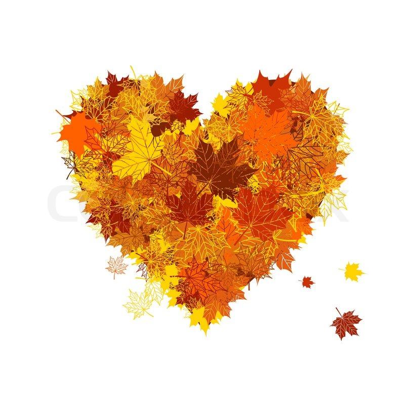 Autumn love, heart shape, leaf | Stock Vector | Colourbox