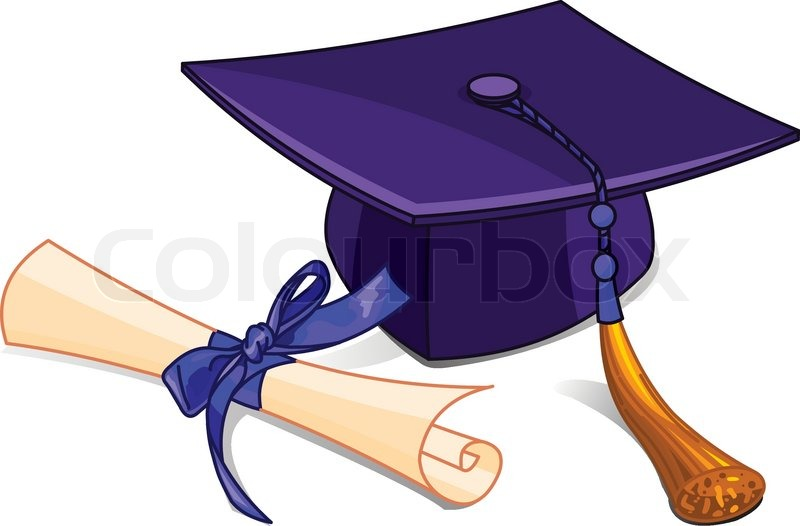 illustration of graduation cap and diploma stock vector colourbox