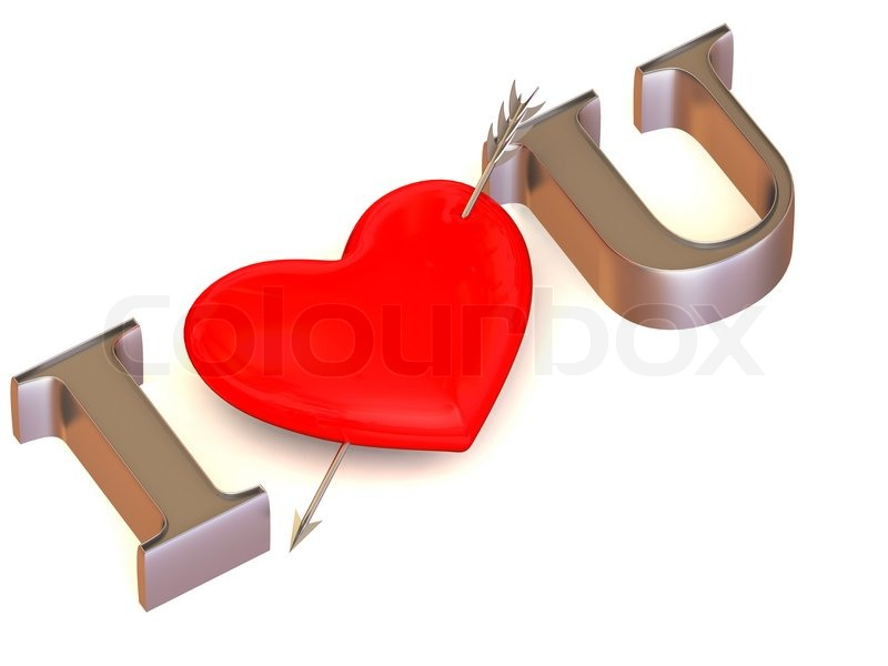 "Stock image of 'Text "" I LOVE YOU"" with Heart."