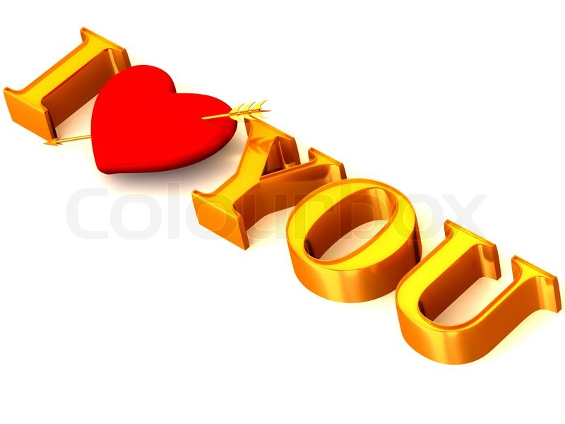 Text I Love You With Heart 3d Stock Photo Colourbox