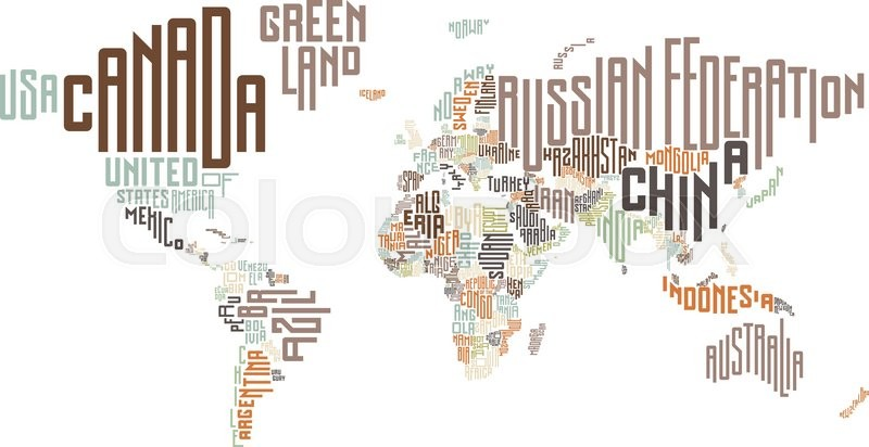 World Map Made Of Typographic Country Names Vector Illustration - World map pic with country name