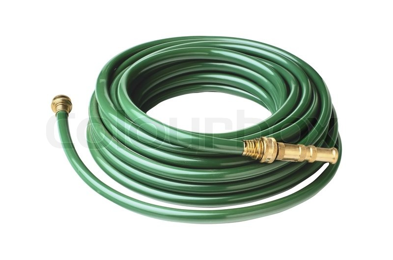 Yellow garden hose coiled with spray nozzle Stock Photo Colourbox