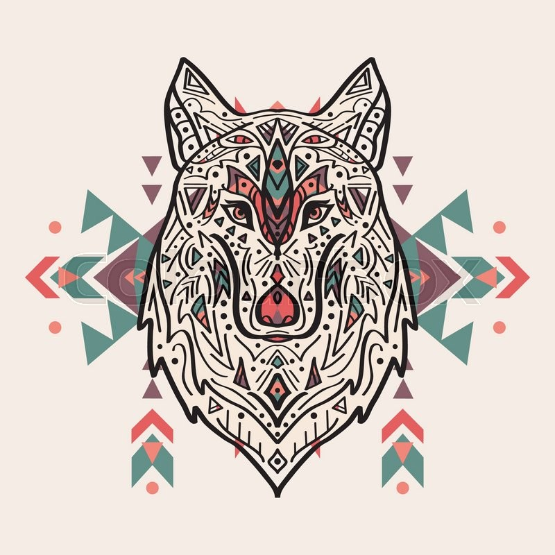 vector colorful illustration of tribal style wolf with