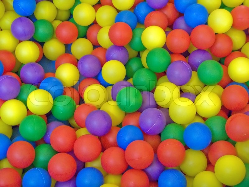 Color image of blue, green, red, yellow sport ball background, stock photo