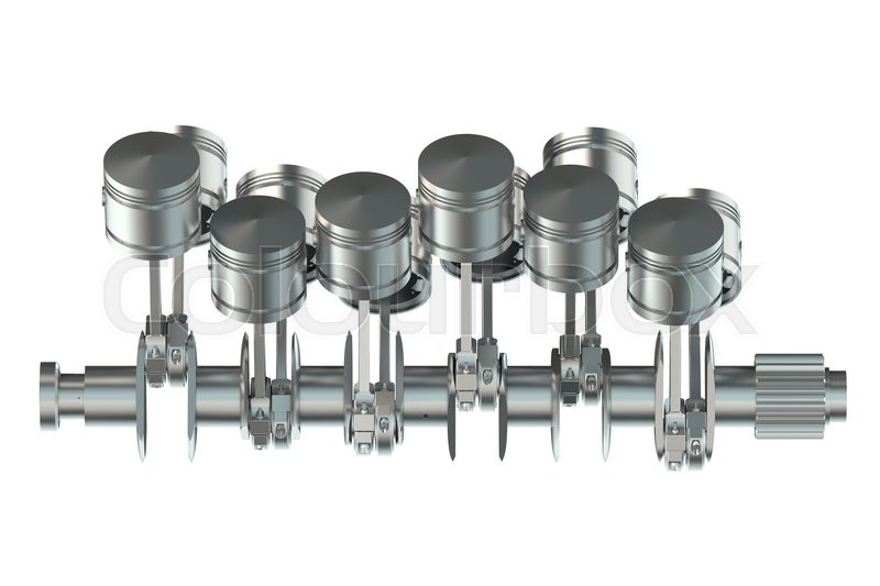 V12 engine pistons isolated on white     | Stock image
