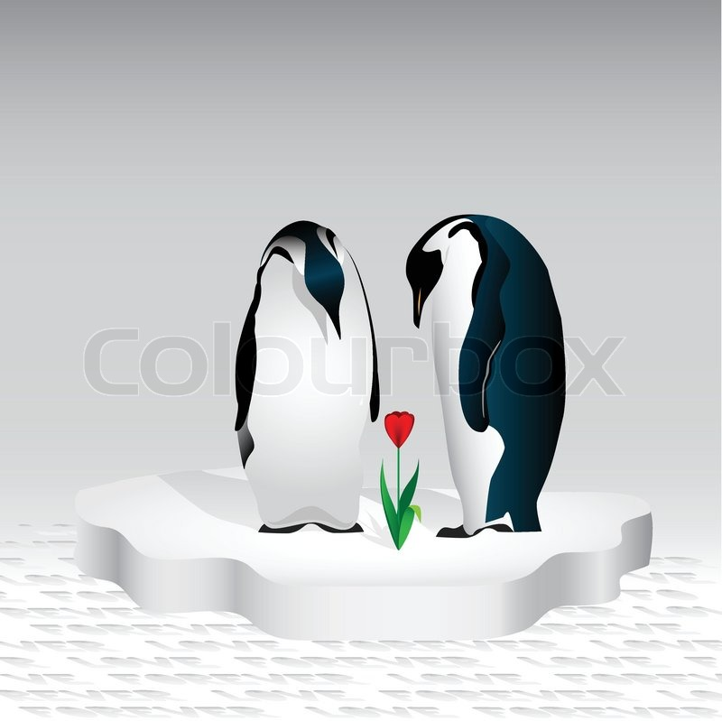 Penguin Couple Drawing a Couple of Penguins Are