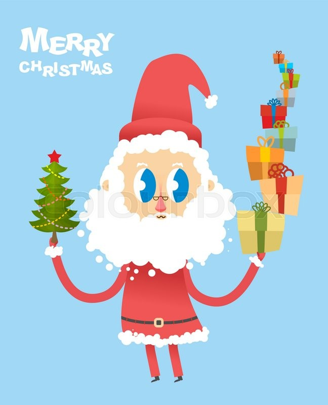 happy christmas cute santa claus holding many gifts and christmas tree card for new year good santa with big eyes merry christmas character with beard - How Many Gifts For Christmas