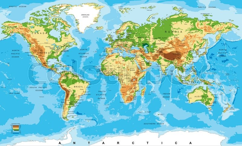 Worksheet. Highly detailed physical map of the worldin vector formatwith