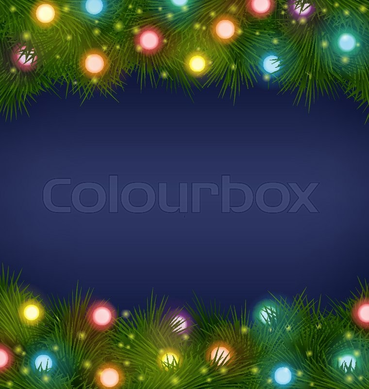 multicolored christmas lights on pine branches on blue background