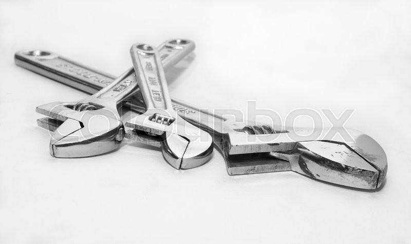 Adjustable wrench, stock photo