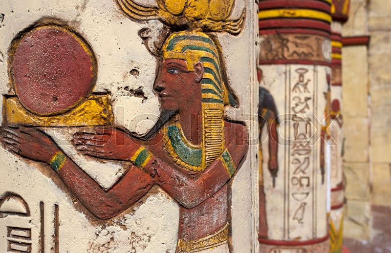 Ancient egyptian wall paintings on column | Stock Photo | Colourbox