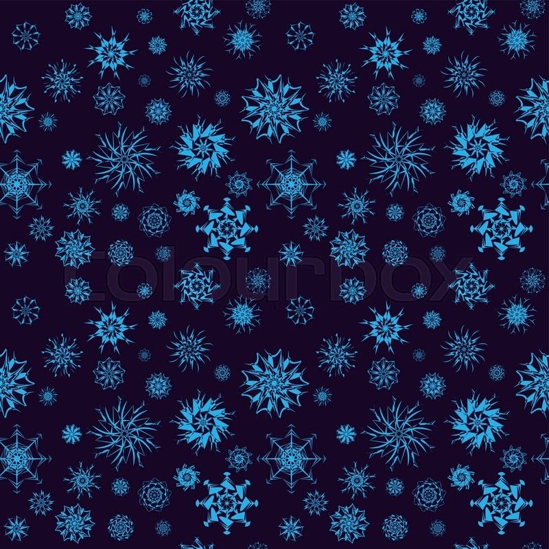 On Dark Blue Background New Year And Christmas Concepts Snowfall Elements Can Be Used For Banners Posters Greeting Cards Vector Design