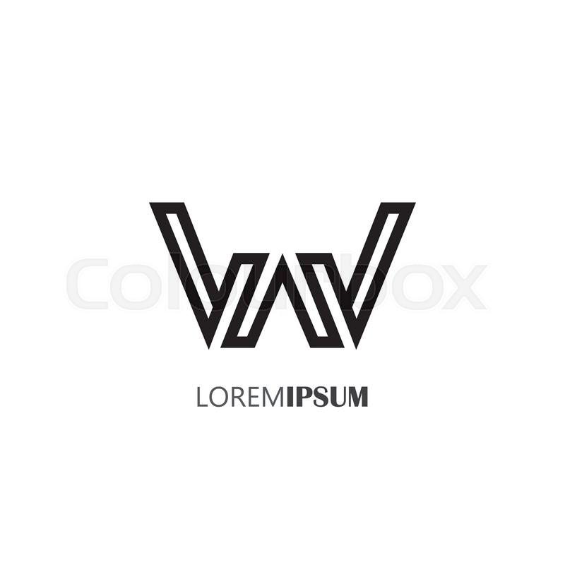 Vector Logo Design Icon Of Creative Line Alphabet Symbol Of Letter W