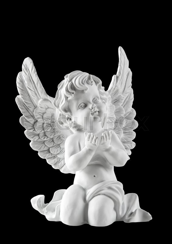 white statues black Guardian angel and