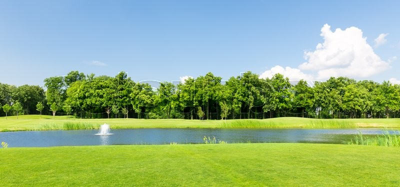Panorama view of beautiful summer park with little pond, stock photo