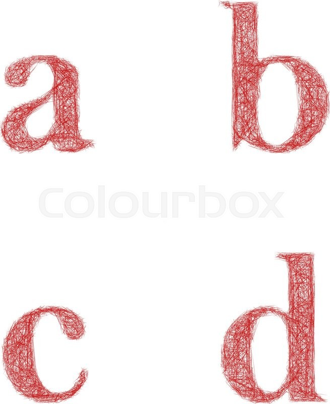 Red Sketch Font Design Set Lowercase Letters A B C D Stock