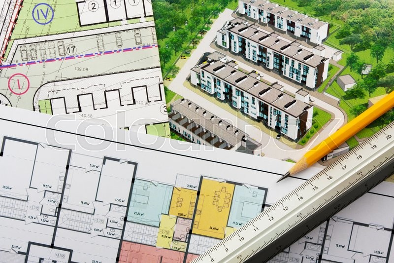 Architectural project - general plan, perspective view and floor plan, stock photo