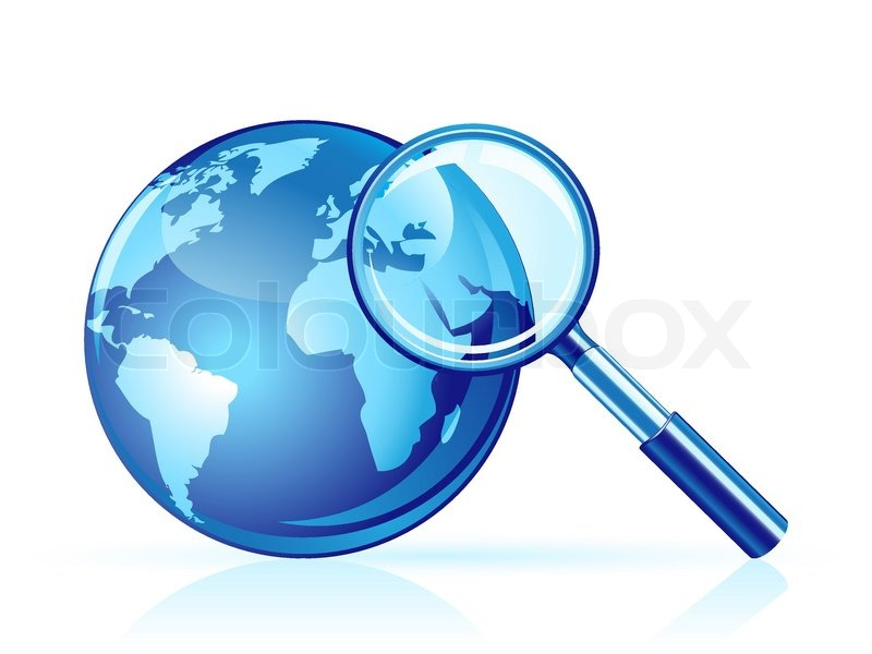 Global Search Icon. Magnifier And Globe