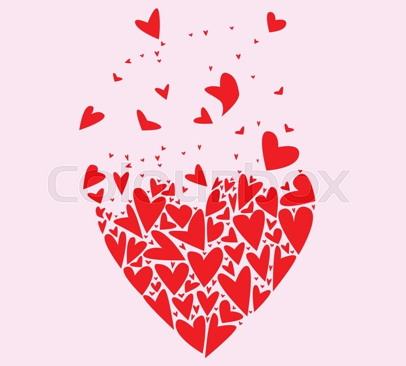 A Large Heart Made Up Of Several Smaller Hearts Flying Away Against