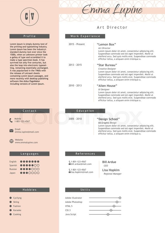 vestor creative resume template minimalistic pink and white style