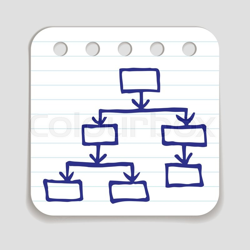 Doodle Flow Chart Icon Blue Pen Hand Drawn Infographic Symbol On A