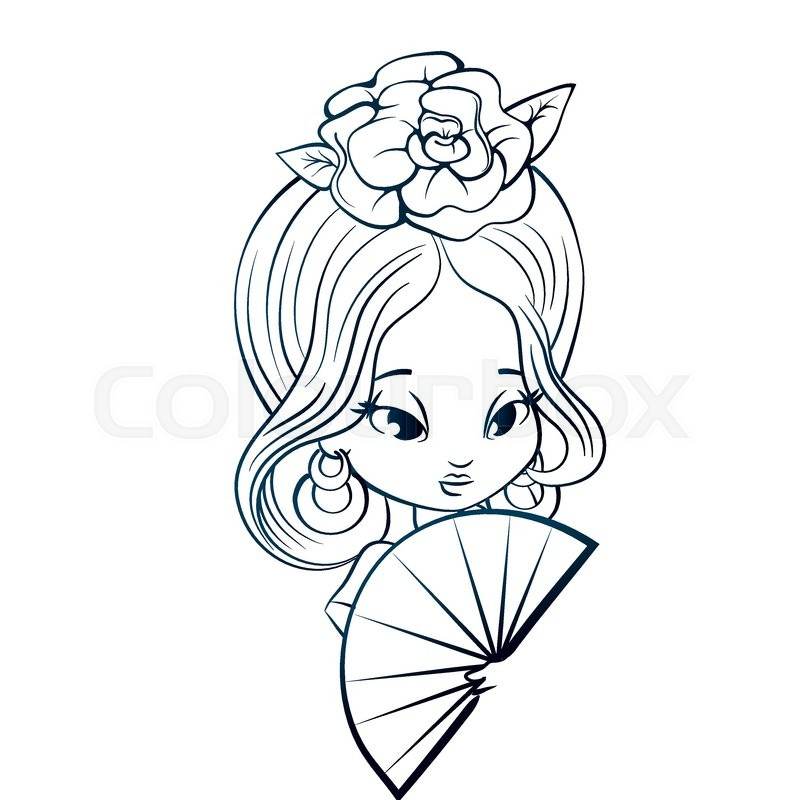 Chibi Character Girl In Spanish Costume With Rose