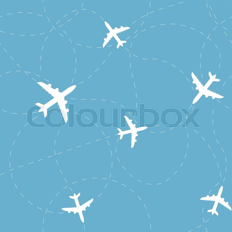 Travel Around The World Concept Airplane Seamless Pattern Background Vector Texture Can Be Used For Wallpaper Fills