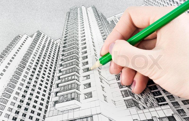 Hand Zieht Hochhaus Mit Einem Bleistift