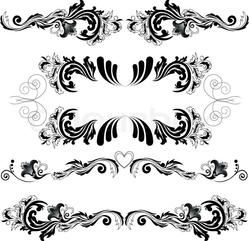 Stock vector of 'Set of four black abstract patterns on a white background'