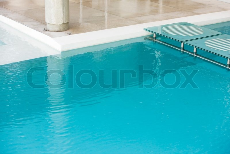Milena Boniek Altopress Maxppp Stepping Stones Spanning Deep End Of Swimming Pool Stock