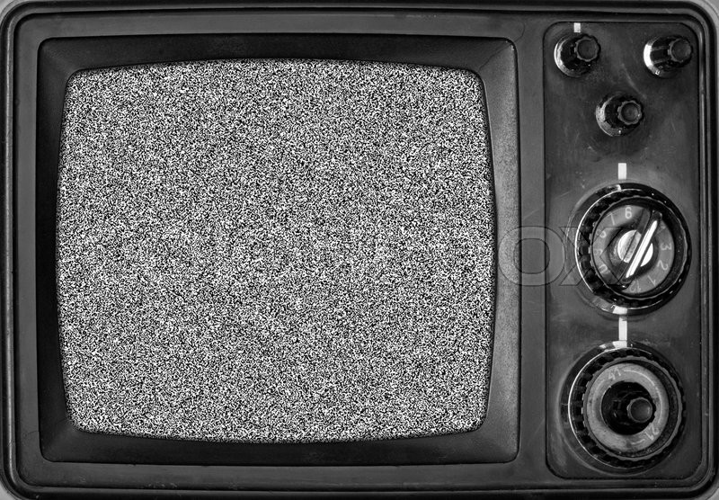 Vintage Tv With Noise On Screen In Bw Stock Image Colourbox