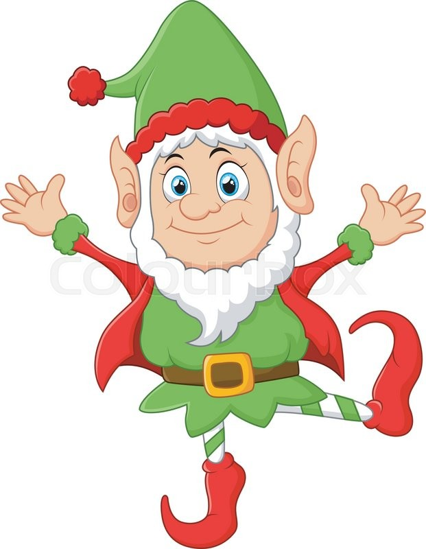 vector illustration of cartoon christmas elf waving with both hands