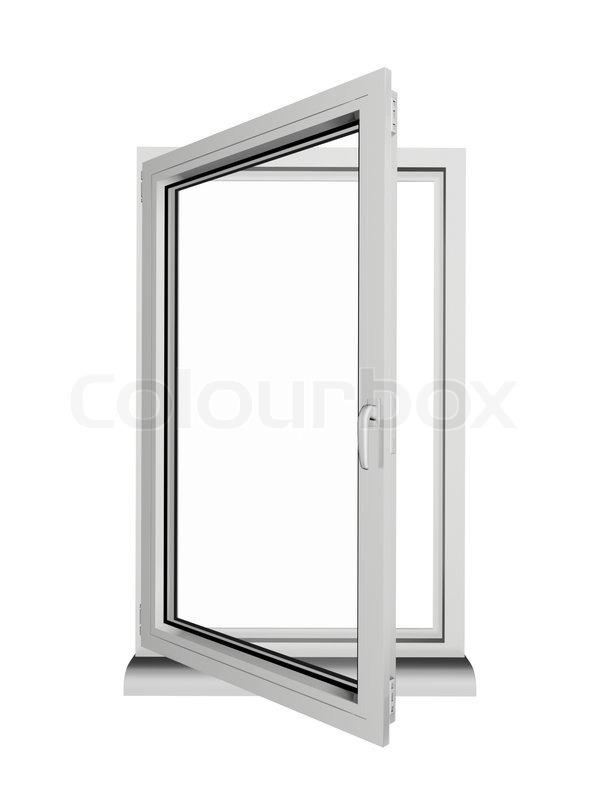 Einem Rahmen und zwei Lagen Kunststoff-Fenster geöffnet isoliert auf ...