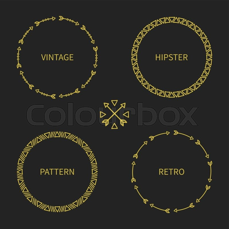Set Of Gold Hand Drawn Ethnic Arrows Frame Doodles Style Tribal