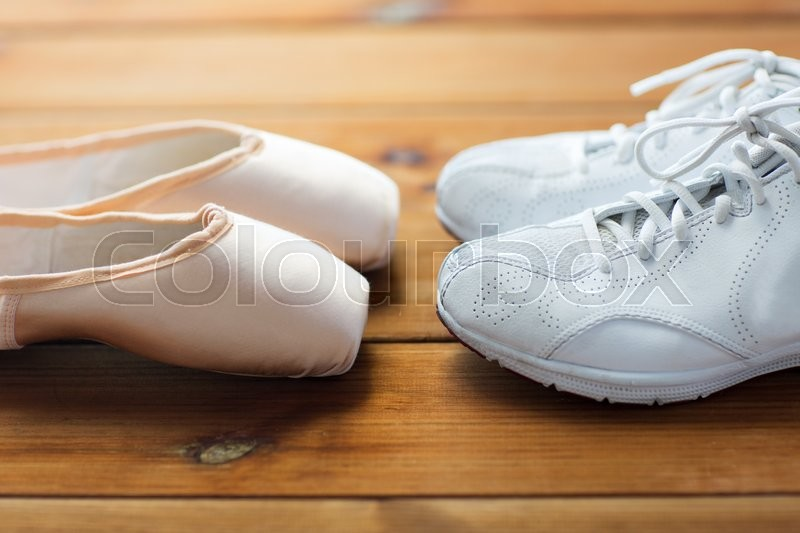 Sport, ballet, fitness, footwear and objects concept ...