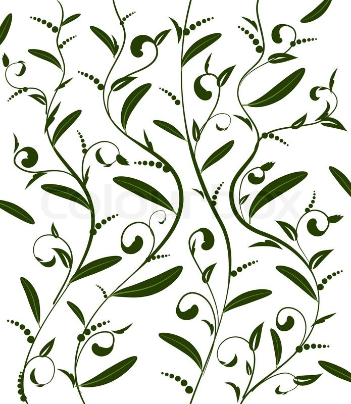Pattern of lines and leaves | Vector | Colourbox