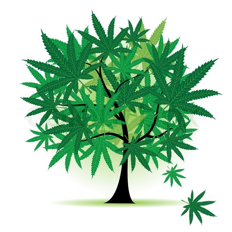 art tree fantasy, cannabis leaf | stock vector | colourbox