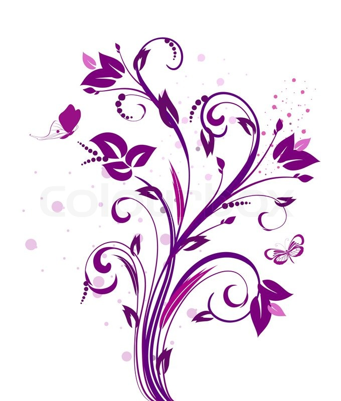 Purple Flower Clipart No Background: Stock Vector