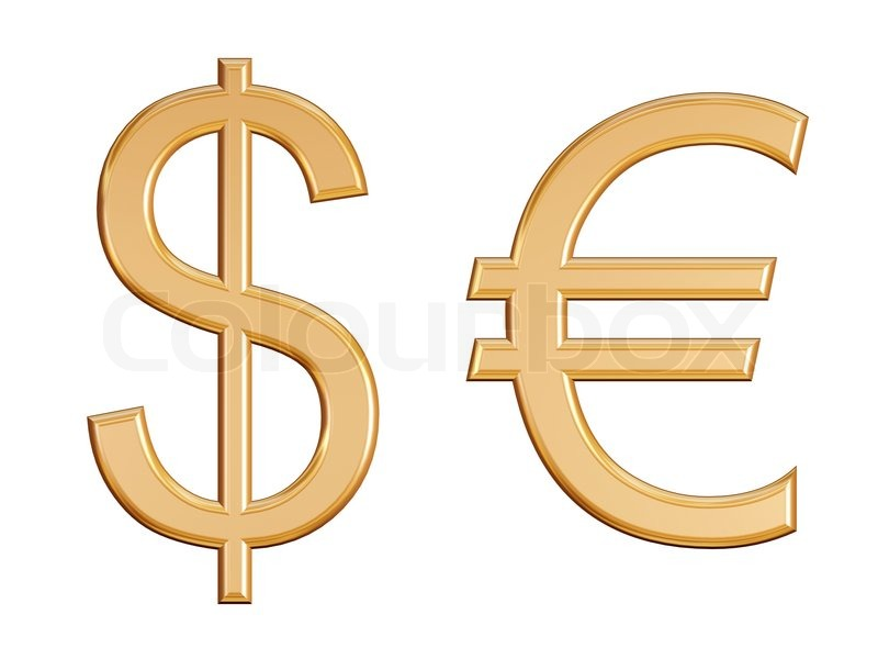 Dollar And Euro Golden Symbols Isolated Stock Photo Colourbox