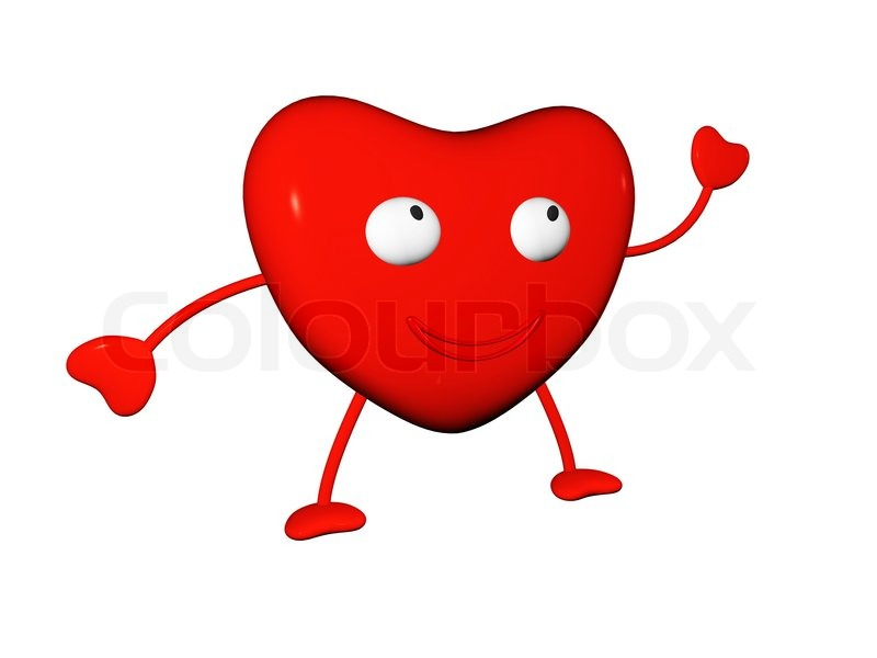 Happy Red Heart Symbol With Hands And Legs Stock Photo Colourbox