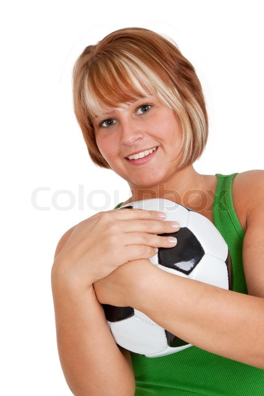 71ace4a29 Young woman holding a soccer ball - ...
