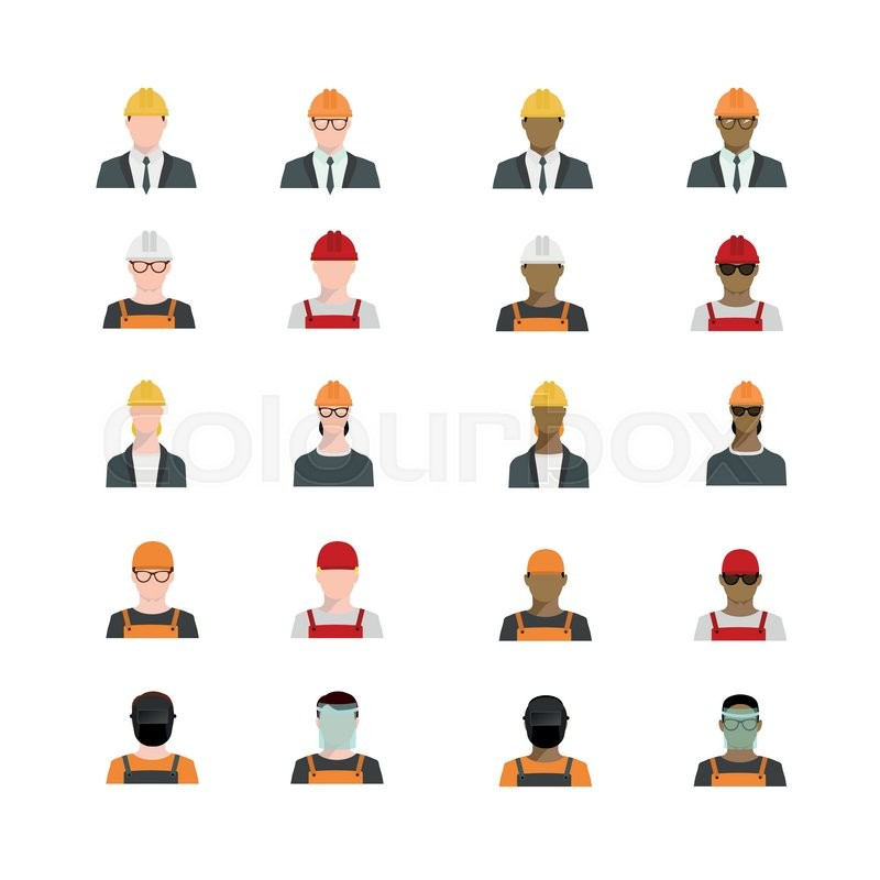 Foreman Builders Mail: Set Of People Avatars Profession, ...