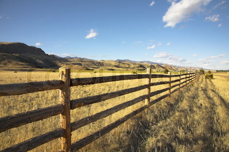 An easy cloud in pastoral midday on the american farm stock photo colourbox - Rustic wood fences a pastoral atmosphere ...
