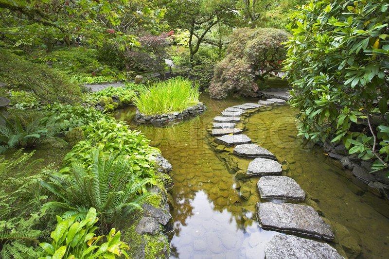 ein fußweg von steinen gelegt mit ziegel durch einen feinen teich, Gartenarbeit ideen