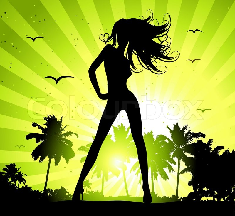 Beautiful Woman Face Over Beach Sunset Stock Image: Summer Holiday, Beautiful Girl Silhouette On Sunset
