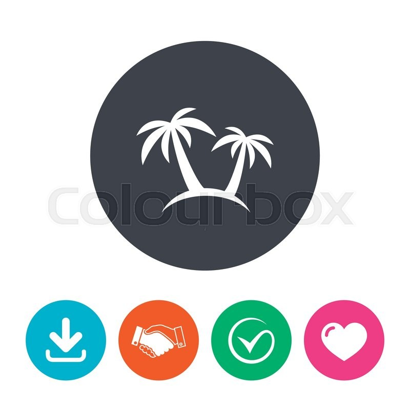 Palm Tree Sign Icon Travel Trip Symbol Download Arrow Handshake