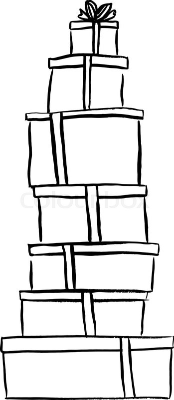 Stack Of Christmas Gifts Ink Outline Hand Drawn Sketch Isolated On White Clip Art