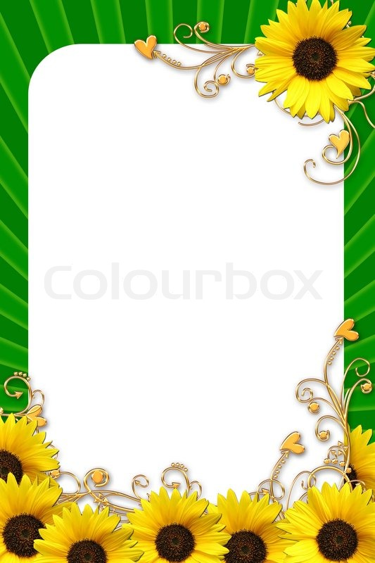 green rahmen f r fotos mit sonnenblumen stockfoto colourbox. Black Bedroom Furniture Sets. Home Design Ideas
